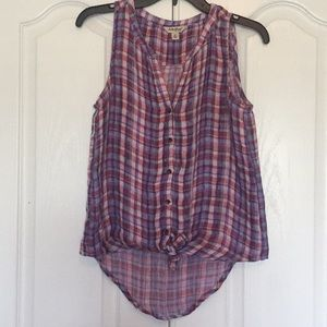 Lucky brand sleeveless plaid button up top